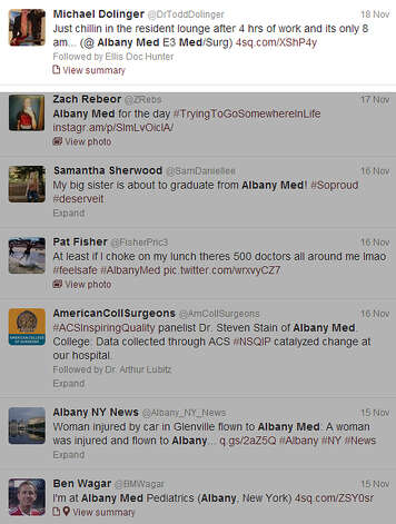 A snapshot of Albany Medical Center's Twitter feed.