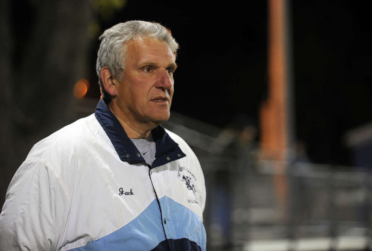 Former Ansonia football coach Jack Hunt watches a game against Wilby in Ansonia, Conn. on Friday November 11, 2011.