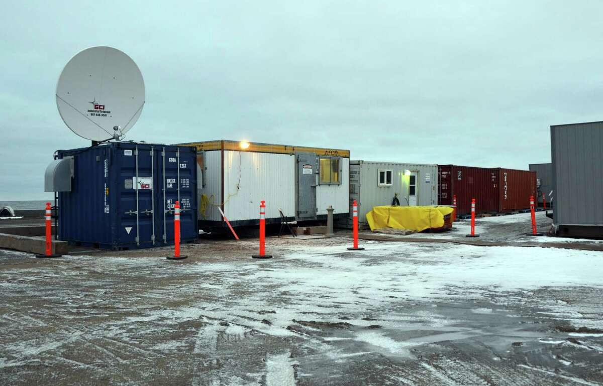Shell's crew camp on the edge of Barrow, Alaska, has satellites, trucks and generators. The only sounds outside are the sounds of purring equipment and crashing waves.