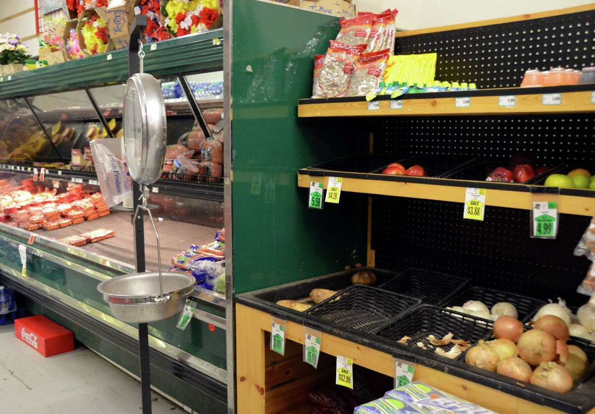 The produce section of the grocery store in Nuiqsut, Alaska, is sparse. Groceries are expensive throughout the North Slope.