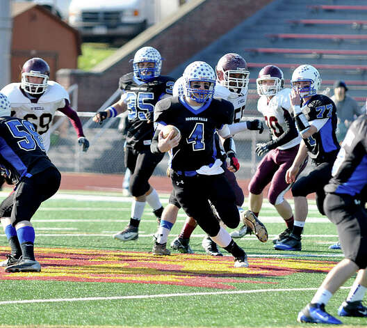 Hoosick Falls quarterback Billy Pine plays against James I. O'Neill in their state semifinal at Dietz Stadium in Kingston on Nov. 17, 2012.