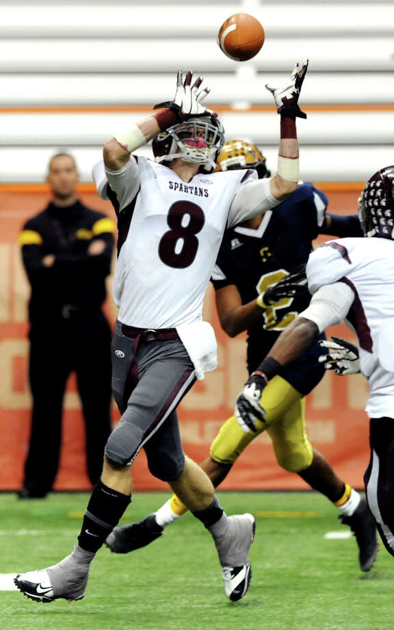 Burnt Hills' Eric Dillon (8), left, intercepts a pass during their Class A football state final against Sweet Home on Friday, Nov. 23, 2012, at the Carrier Dome in Syracuse, N.Y. (Cindy Schultz / Times Union) Photo: Cindy Schultz /  00020203A