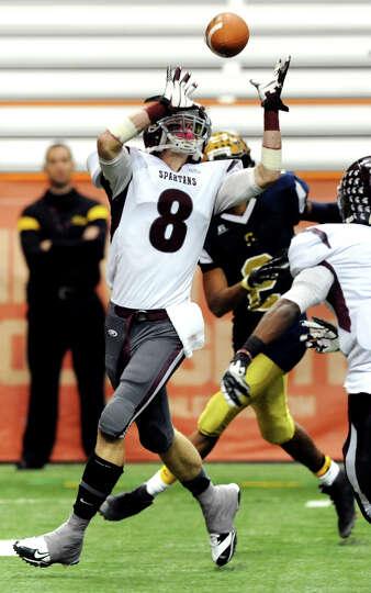Burnt Hills' Eric Dillon (8), left, intercepts a pass during their Class A football state final agai