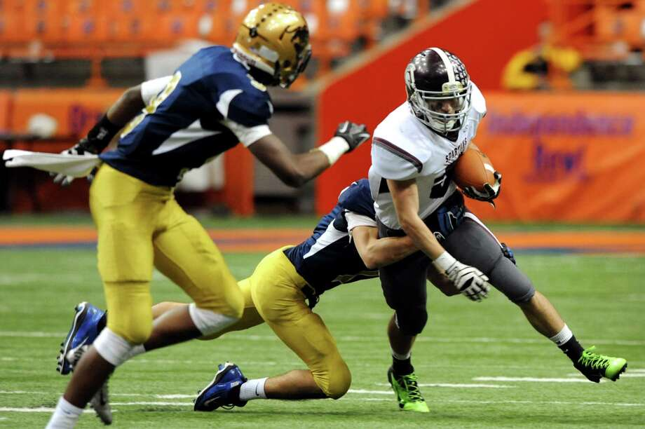Burnt Hills' Michael Danz (5) gains yards during their Class A football state final against Sweet Home on Friday, Nov. 23, 2012, at the Carrier Dome in Syracuse, N.Y. (Cindy Schultz / Times Union) Photo: Cindy Schultz /  00020203A