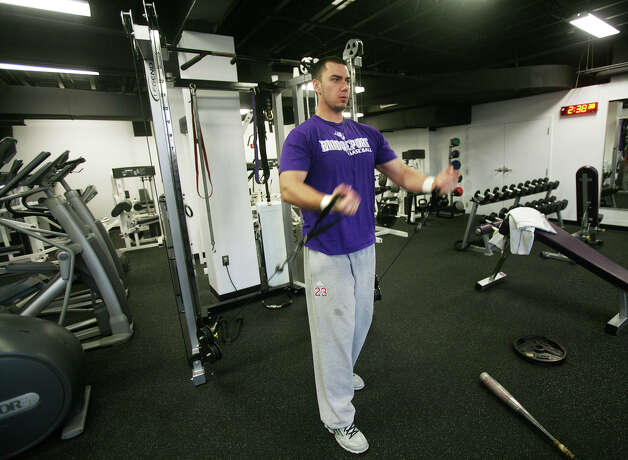 Senior baseball player Michael Olszyk of Hamden works out in the new Abner Fitness Center in the Harvey Hubbell Gymnasium at the University of Bridgeport on Tuesday, November 20, 2012. Photo: Brian A. Pounds / Connecticut Post