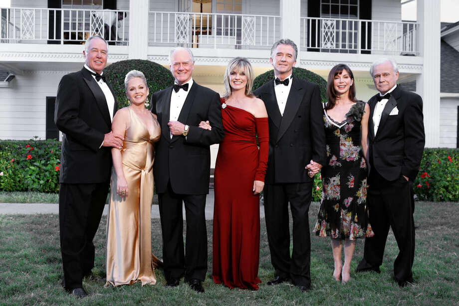 "The ""Dallas"" cast celebrated the landmark show in 2004. From left: Steve Kanaly,  Charlene Tilton,  Larry Hagman,  Linda Gray,  Patrick Duffy,  Victoria Principal and Ken Kercheval."