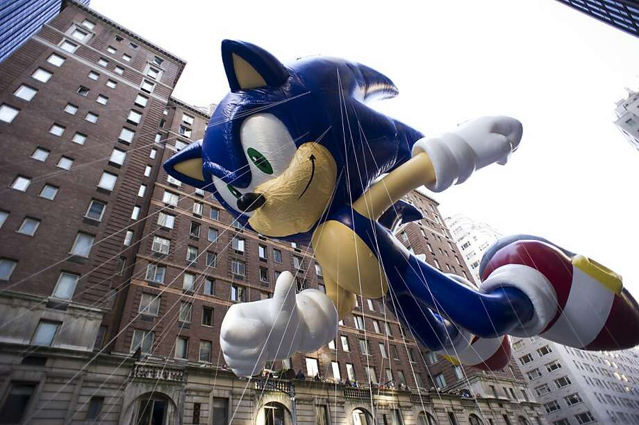 The Sonic the Hedgehog balloon floats in the Macy's Thanksgiving Day Parade in New York in New York, Thursday, Nov. 22, 2012. (AP Photo/Charles Sykes) Photo: Charles Sykes, Associated Press