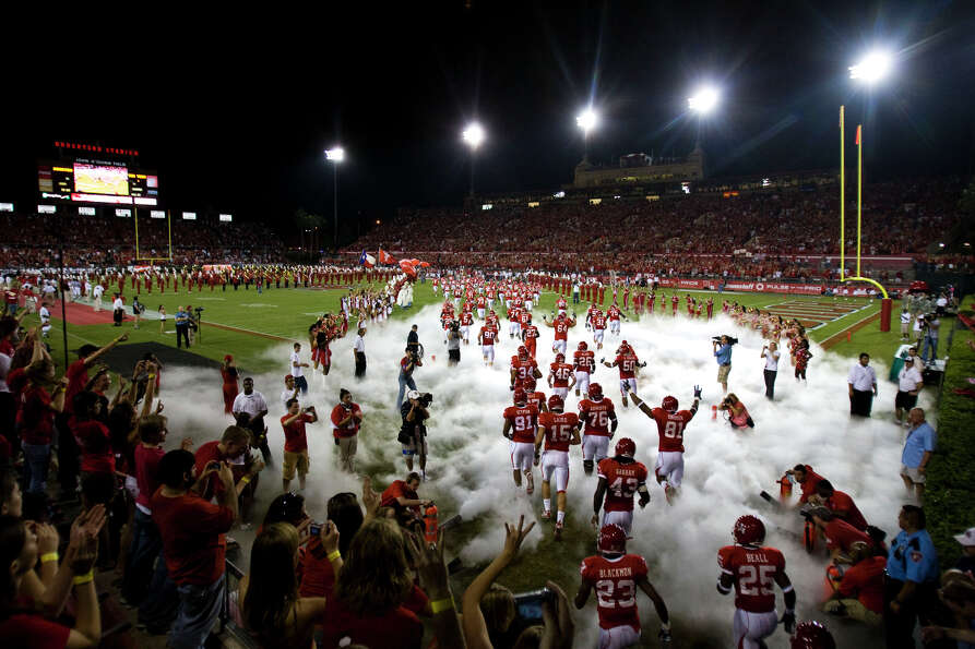 UH Cougars storm into the sold out stadium to play Texas Tech  in college football action at Roberts