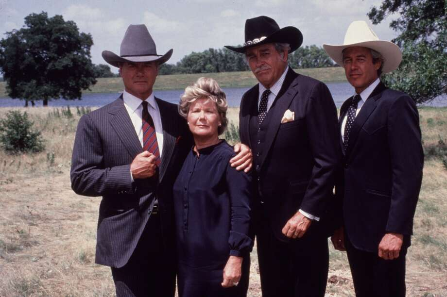 "Hagman with ""Dallas"" castmates Barbara Bel Geddes, Howard Keel and Steve Kanaly. Geddes played the beloved Miss Ellie, J.R.'s mother. Keel starred as Miss Ellie's second husband, Clayton, and Kanaly was J.R.'s half-brother Ray."