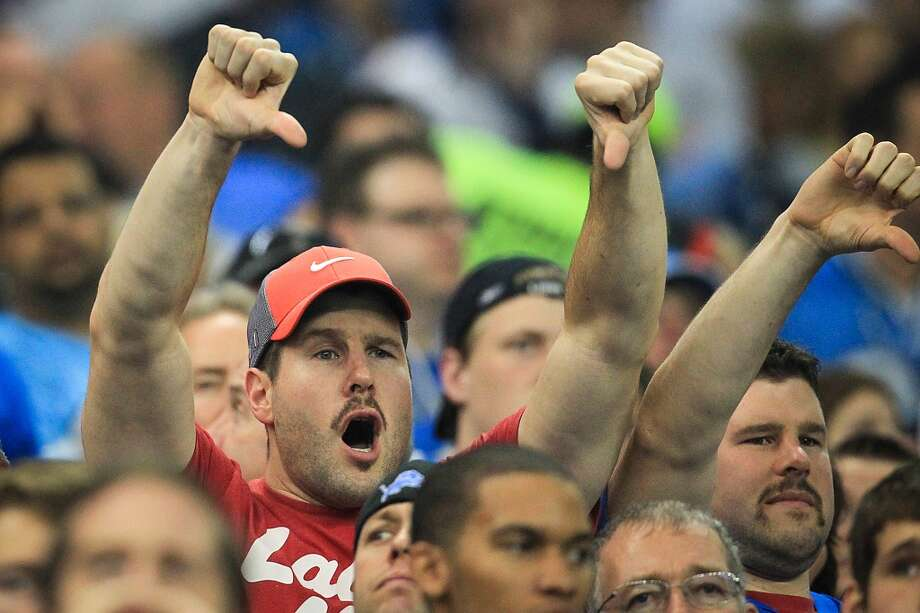 Lions fans boo afterJustin Forsett's controversial touchdown. (Karen Warren / Houston Chronicle)
