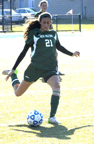 Sabrina Baxter of the Green Wave during New Milford High School girls' soccer's state class 'LL' semifinal match vs. Newtown in Waterbury. Nov. 17, 2012 Photo: Norm Cummings