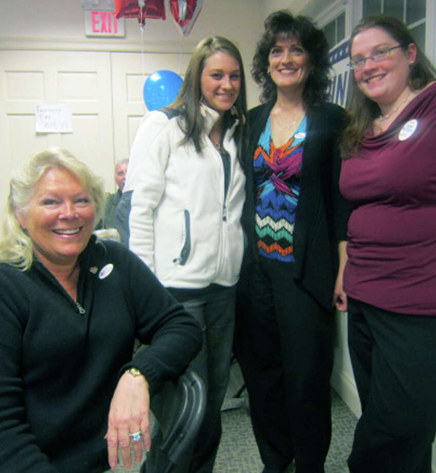 The picture wasn't quite as rosy statewide or nationally for the GOP, but smiles abounded on election night at New Milford Republican headquarters for, from left to right, Katy Francis, Gina Hansel, Diane Ridgeway and Kathleen Fina. Nov. 6,2012 Photo: Norm Cummings
