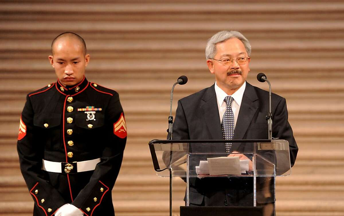 Mayor Ed Lee speaks during a memorial for slain Ambassador J. Christopher Stevens on Tuesday, Oct. 16, 2012, in San Francisco.