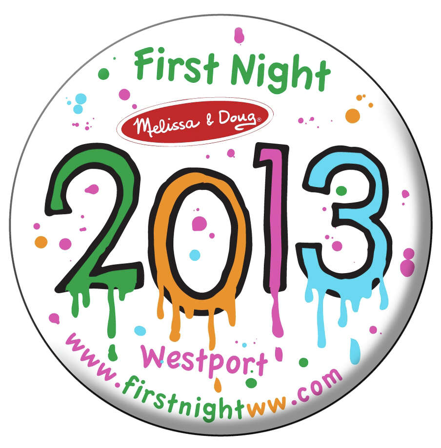 The winning design for the 2013 First Night Westport/Weston button, by Miggs Burroughs, features dripping multi-colors to mimic a painting done by a child. Photo: Contributed Photo / Westport News contributed