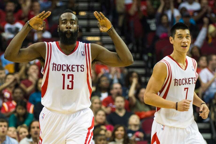 Nov. 23: Rockets 131, Knicks 103Rockets guard James Harden (13) celebrates after making a three-pointer as point Jeremy Lin looks. Harden scored 33 points in the victory. (Smiley N. Pool / Houston Chronicle)