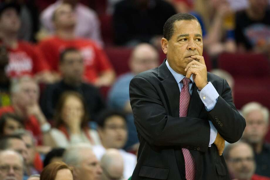 Rockets interim head coach Kelvin Sampson watches during the first half. (Smiley N. Pool / Houston Chronicle)