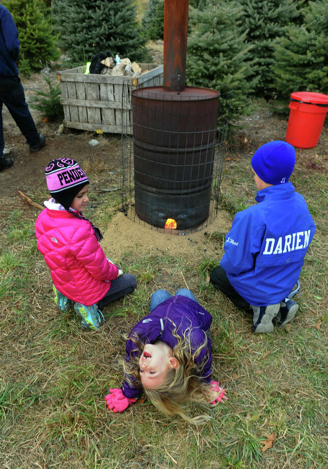 Some of the Reid children, of Darien, get warm at a heating station while they hunt for the perfect Christmas tree at at Jones Family Farm in Shelton, Conn. on Saturday November 24, 2012. From left to right is Brigitte, 10, Elizabeth, 5, and John, 11. Photo: Christian Abraham / Connecticut Post