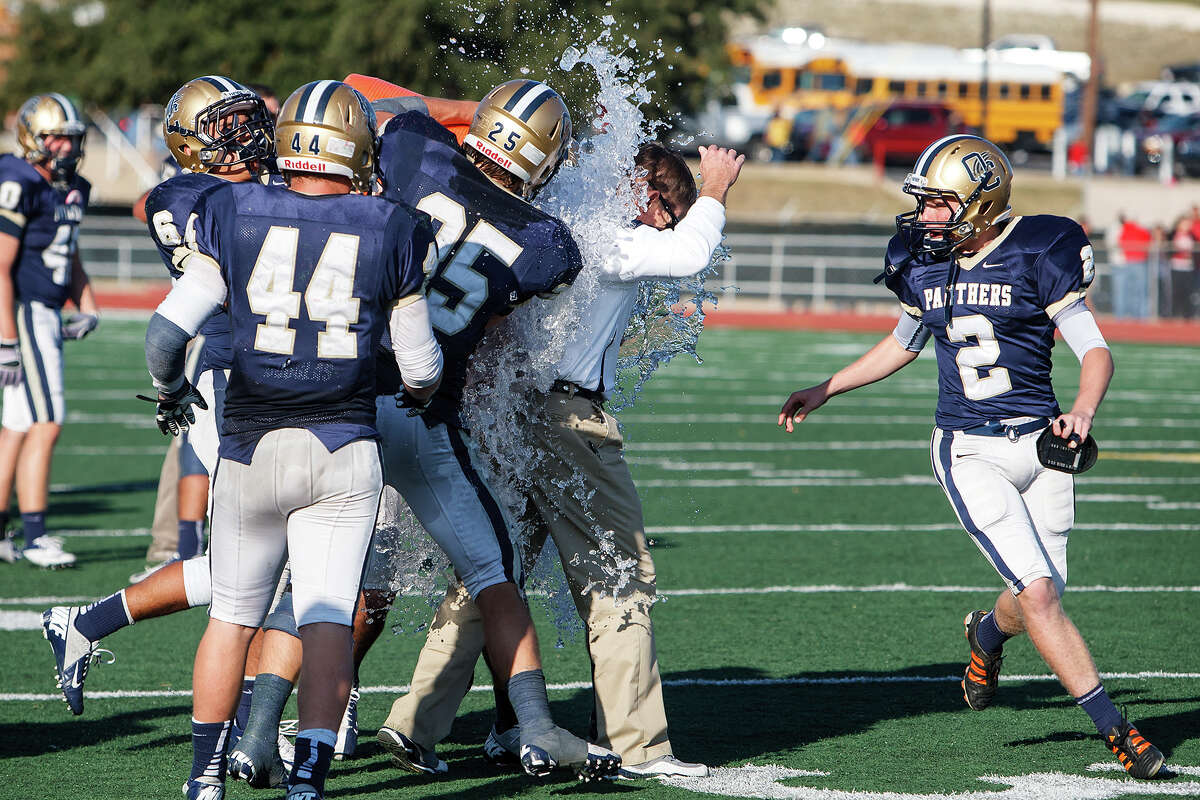O'Connor head coach David Malesky gets a gatorade shower following the Panthers' 34-28 victory over Judson in their Class 5A Division II second round playoff game at Comalander Stadium on Nov. 24, 2012. MARVIN PFEIFFER/ mpfeiffer@express-news.net