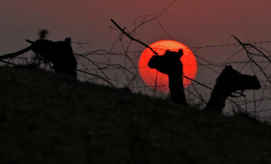 Camels are sillhouetted beside the setting sun during the annual cattle fair in Pushkar, Rajasthan, India.  Pushkar, located on the banks of Pushkar Lake, is a popular Hindu pilgrimage spot that is also frequented by foreign tourists who come to the town for the annual cattle fair and camel races. Photo: Rajesh Kumar Singh, Associated Press / AP