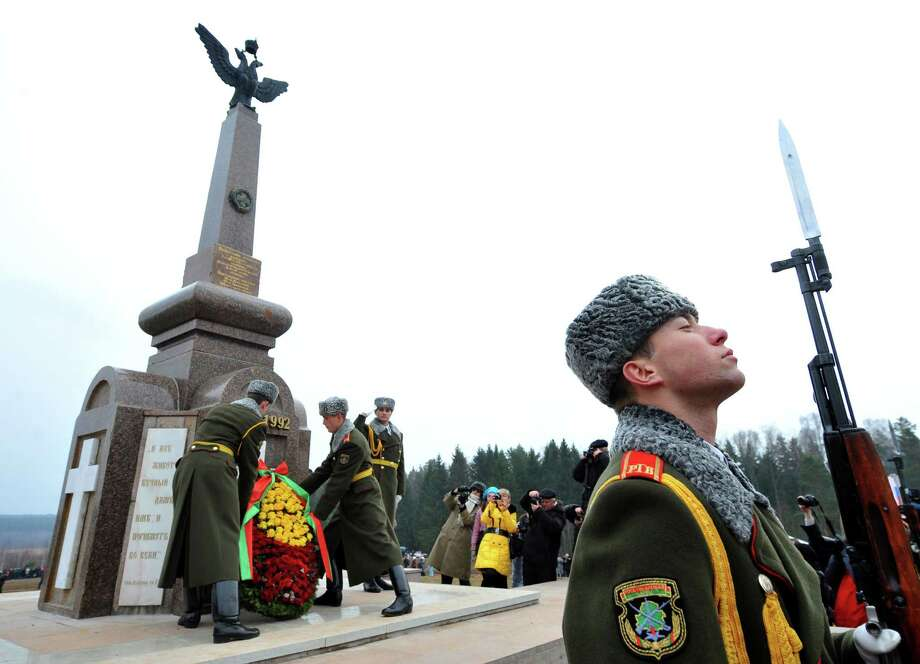 Belarussian soldiers of the honour guard take part in a memorial ceremony to mark the 200th anniversary of Napoleon's army retreat from Russia across the Berezina River near the village of Studenka, about 85 kilometres from the capital Minsk, on November 24, 2012. Photo: VICTOR DRACHEV, AFP/Getty Images / AFP
