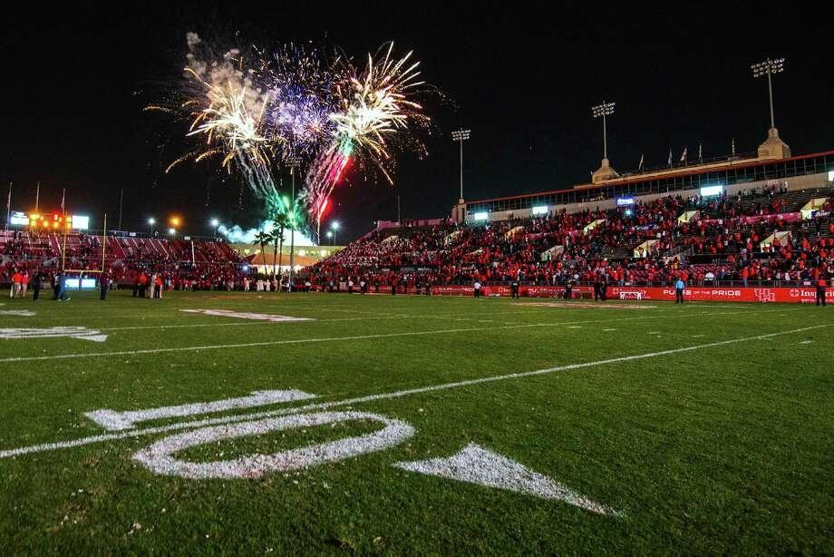 Fireworks light the sky over Robertson Stadium following a college football game against Tulane on Saturday, Nov. 24, 2012, in Houston. Photo: Smiley N. Pool, Houston Chronicle / © 2012  Houston Chronicle