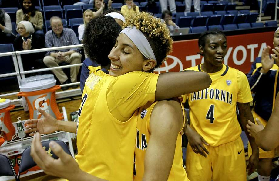 Cal's Afure Jemerigbe, (2) left and Layshia Clarendon, (23) exchange hugs after the win, as the California women beat the Georgetown Hoyas in the championship game 72-56 in the Cal Classic basketball tournament at Haas Pavilion in Berkeley, Calif.  on Saturday Nov. 24, 2012. Photo: Michael Macor, The Chronicle