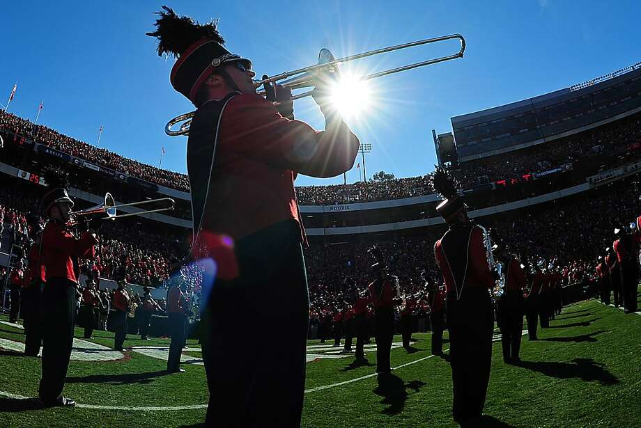 A member of the Georgia Bulldogs Marching Band performs before te game against the Georgia Tech Yellow Jackets at Sanford Stadium on November 24, 2012 in Athens, Georgia. (Photo by Scott Cunningham/Getty Images) Photo: Scott Cunningham, Getty Images