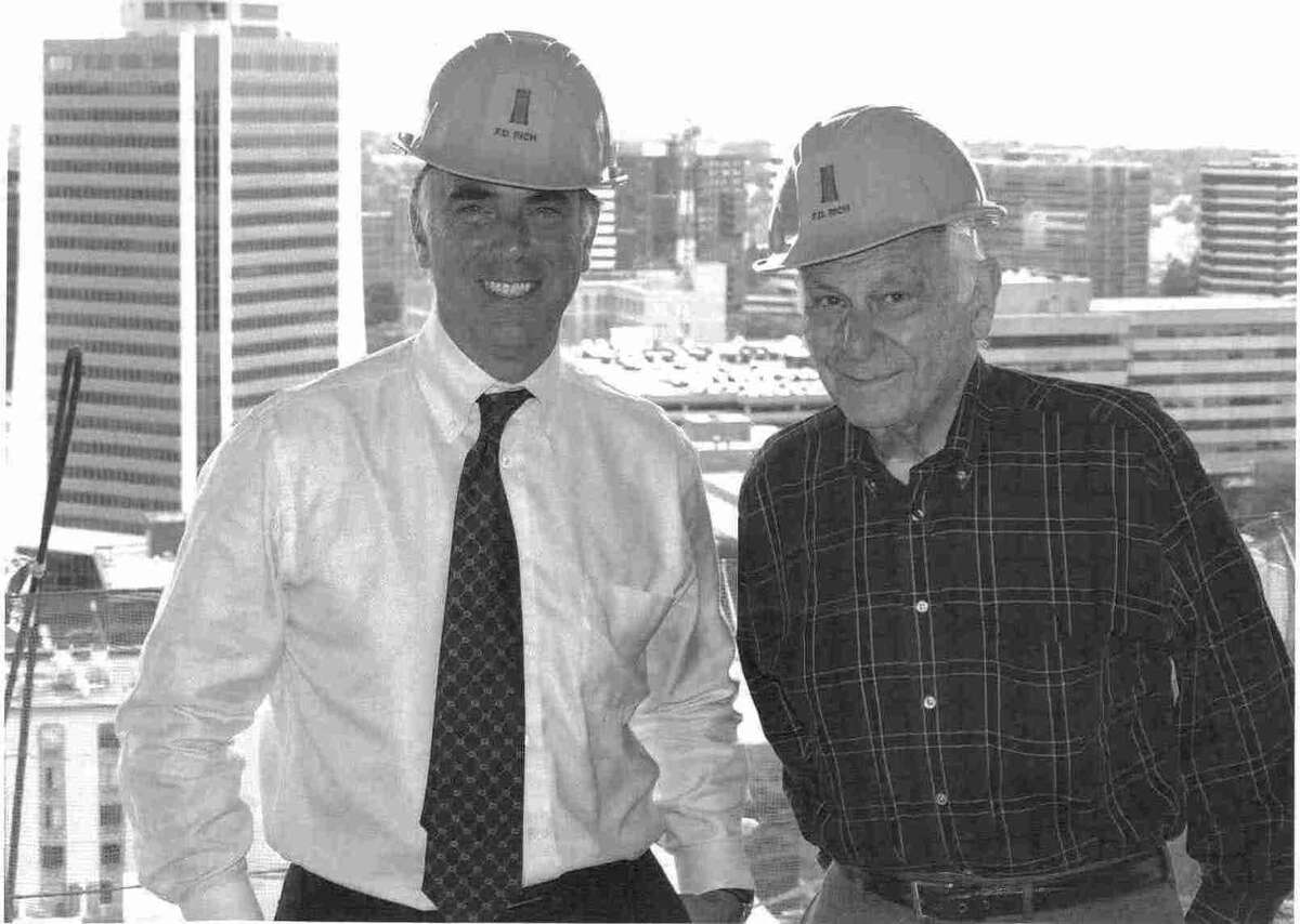 Robert Rich and his son, Thomas Rich, atop Trump Parc in downtown Stamford in 2008. Robert Rich died Saturday, Nov. 17, 2012 at age 84.