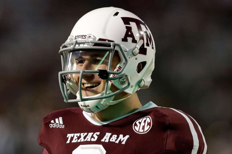 Texas A&M Aggies quarterback Johnny Manziel #2 is seen during warmups prior to the start of the game