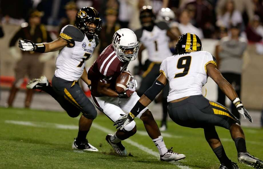 Texas A&M Aggies reciever Kenric McNeal  #5 catches a long pass during their game against the Missouri Tigers at Kyle Field on November 24, 2012 in College Station, Texas.  (Scott Halleran / Getty Images)
