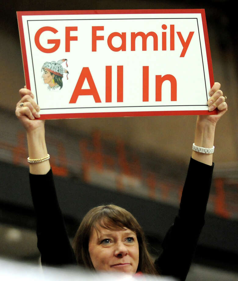 A Glens Falls' shows her support during the final minutes of their Class B football state final against  Maine-Endwell on Saturday, Nov. 24, 2012, at the Carrier Dome in Syracuse, N.Y. Maine-Endwell wins 42-12. (Cindy Schultz / Times Union) Photo: Cindy Schultz / 00020205A