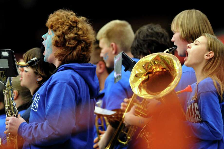 Hoosick Falls' band members cheer for their team during the Class C football state final against Hornell on Saturday, Nov. 24, 2012, at the Carrier Dome in Syracuse, N.Y. (Cindy Schultz / Times Union) Photo: Cindy Schultz / 00020204A