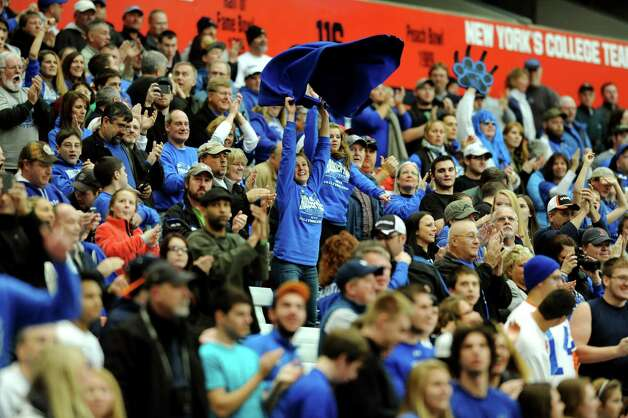 Hoosick Falls' fans cheer for their team during the Class C football state final against Hornell on Saturday, Nov. 24, 2012, at the Carrier Dome in Syracuse, N.Y. (Cindy Schultz / Times Union) Photo: Cindy Schultz / 00020204A