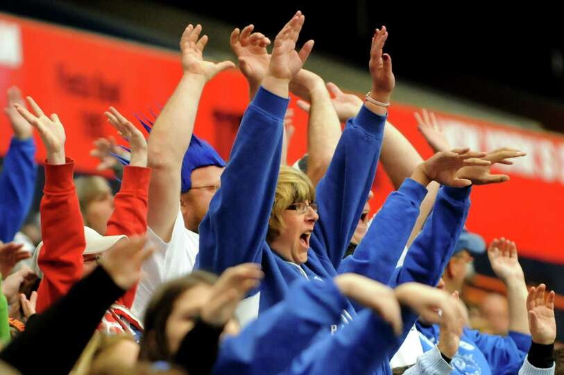 Hoosick Falls' fans do the Wave during the Class C football state final against Hornell on Saturday,