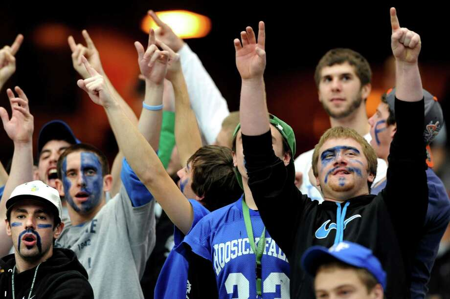 Hoosick Falls' students cheer during the Class C football state final against Hornell on Saturday, Nov. 24, 2012, at the Carrier Dome in Syracuse, N.Y. (Cindy Schultz / Times Union) Photo: Cindy Schultz / 00020204A
