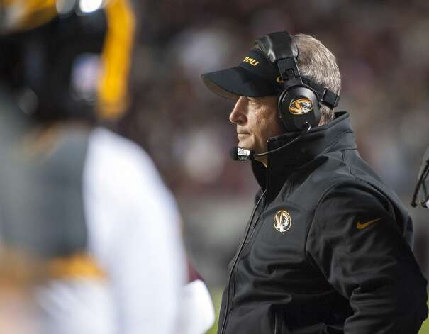 Missouri head coach Gary Pinkel watches during the third quarter of an NCAA college football game against Texas A&M, Saturday, Nov. 24, 2012, in College Station, Texas.  (Dave Einsel / Associated Press)