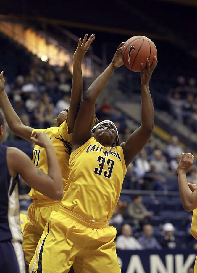 Cal's Reshanda GRay, (21) and Talia Caldwell (33) rebound during the first half, as the California women take on the Georgetown Hoyas in the championship game of the Cal Classic basketball tournament at Haas Pavilion in Berkeley, Calif.  on Saturday Nov. 24, 2012. Photo: Michael Macor, The Chronicle
