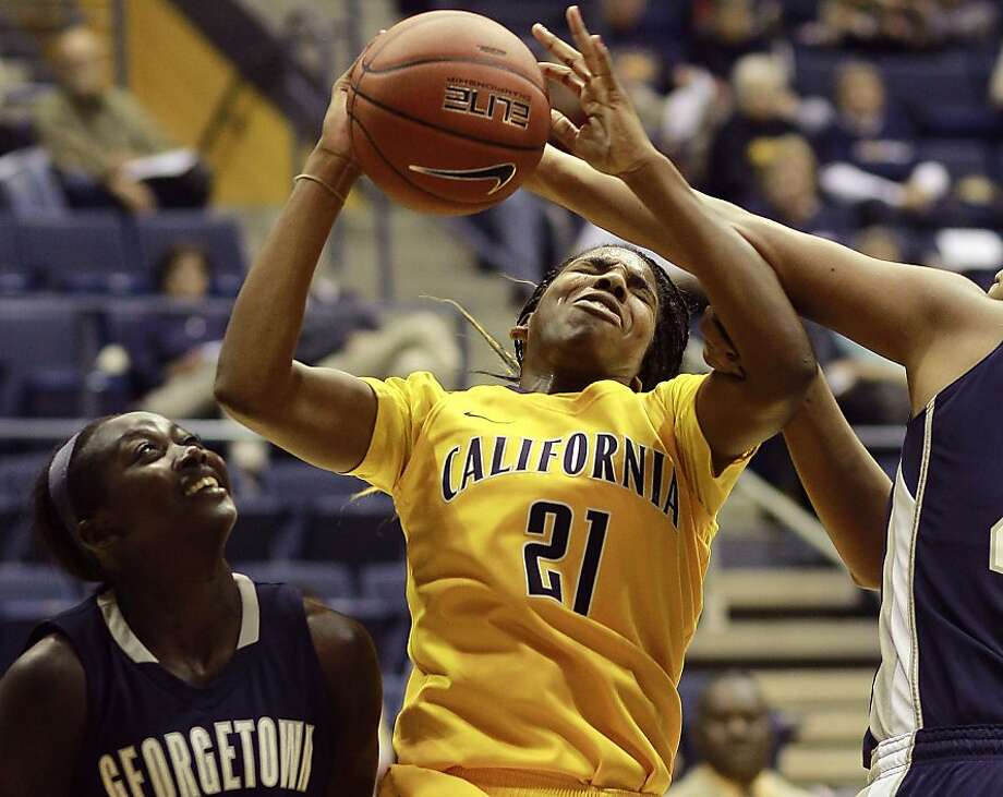Cal's Reshanda Gray (21) pulls down a rebound in the first half, as the California women take on the Georgetown Hoyas in the championship game of the Cal Classic basketball tournament at Haas Pavilion in Berkeley, Calif.  on Saturday Nov. 24, 2012. Photo: Michael Macor, The Chronicle