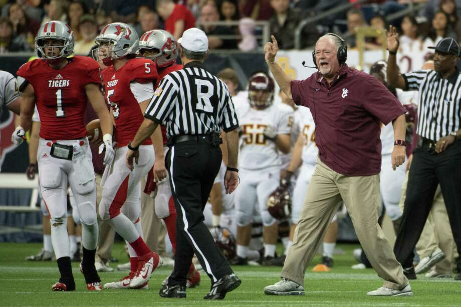 Deer Park head coach Chris Massey argues for a call against Travis during the second half in Class 5A Division I area round high school football playoff action at Reliant Stadium Saturday, Nov. 24, 2012, in Houston.  Smiley N. Pool / Houston Chronicle ) Photo: Smiley N. Pool, Houston Chronicle / © 2012  Houston Chronicle