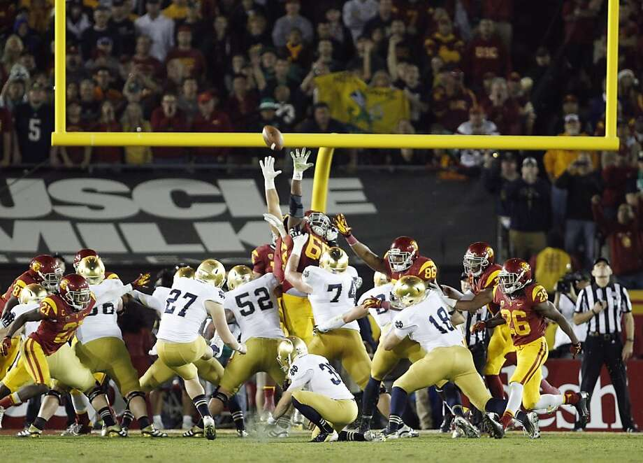 Notre Dame kicker Kyle Brindza (27) makes his fifth field goal of the night against Southern California, during the second half of an NCAA college football game, Saturday, Nov. 24, 2012, in Los Angeles. Notre Dame won 22-13. (AP Photo/Danny Moloshok) Photo: Danny Moloshok, Associated Press