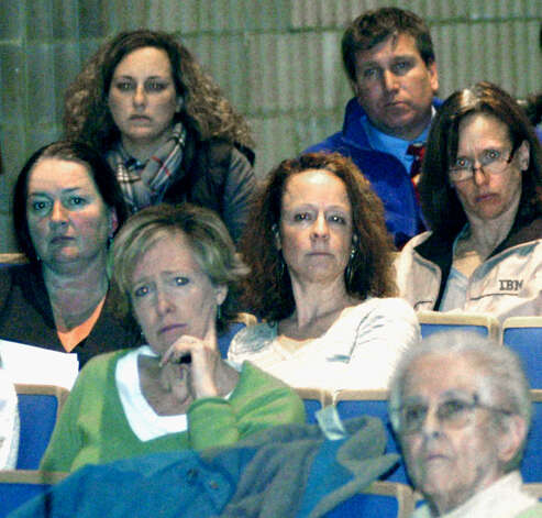 Concerned faces in the crowd listen Nov. 14 to Superintendent of Schools Pat Cosentino offer her case for eliminating block scheduling at Shepaug Valley high and middle schools during a forum hosted by the Shepaug Valley Parent Council at the school. Photo: Norm Cummings