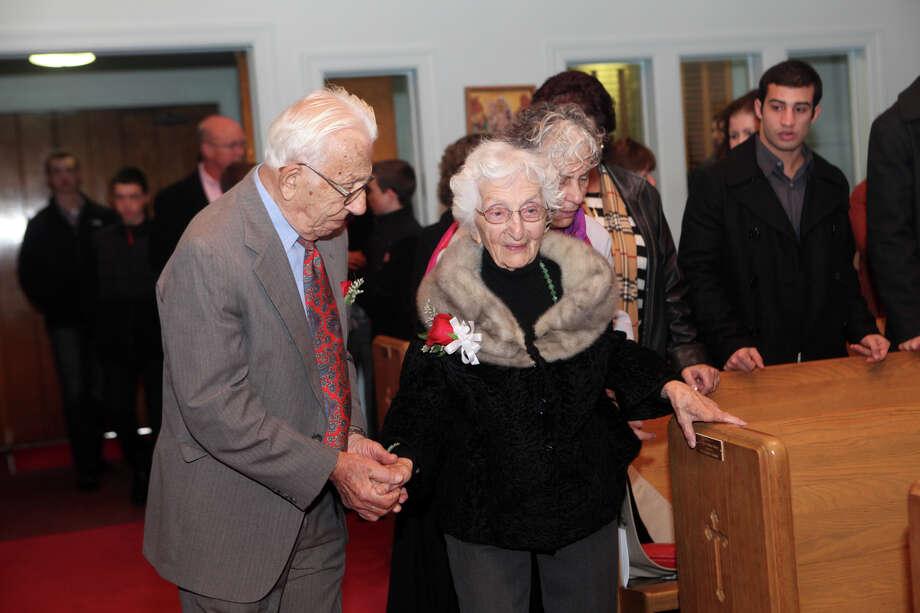 John and Ann Betar, of Fairfield, celebrate their 80th anniversary at St. Nicholas Antiochian Orthodox Church, in Bridgeport, Conn. on Sunday, November 25, 2012. Photo: BK Angeletti, B.K. Angeletti / Connecticut Post freelance B.K. Angeletti