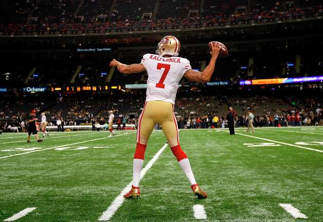 San Francisco 49ers quarterback Colin Kaepernick (7) warms up before an NFL football game against the New Orleans Saints at the Louisiana Superdome in New Orleans, Sunday, Nov. 25, 2012. Photo: Gerald Herbert, Associated Press / AP