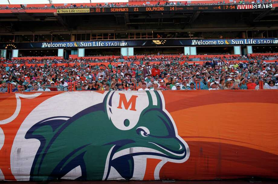 A Miami Dolphins logo is shown during the second half of an NFL football game between the Miami Dolphins and the Seattle Seahawks, Sunday, Nov. 25, 2012 in Miami. The Dolphins beat the Seahawks 24-21. Photo: AP
