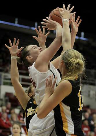 Stanford's Joslyn Tinkle went up for two in the second half. The Stanford women's basketball team had an easy victory over Long Beach State Sunday November 25, 2012 at Maples Pavilion. Photo: Brant Ward, The Chronicle