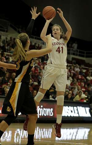 Stanford's Bonnie Samuelson went up for two in the second half. The Stanford women's basketball team had an easy victory over Long Beach State Sunday November 25, 2012 at Maples Pavilion. Photo: Brant Ward, The Chronicle