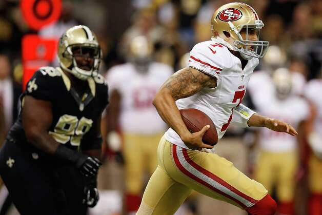 Colin Kaepernick #7 of the San Francisco 49ers runs with the ball during the game against the New Orleans Saints at The Mercedes-Benz Superdome on November 25, 2012 in New Orleans, Louisiana. Photo: Chris Graythen, Getty Images / 2012 Getty Images