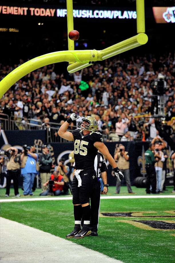 New Orleans Saints tight end David Thomas (85) celebrates his touchdown  in the first half of an NFL football game against the San Francisco 49ers at the Louisiana Superdome in New Orleans, Sunday, Nov. 25, 2012. Photo: Bill Feig, Associated Press / FR44286 AP