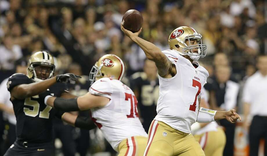 Colin Kaepernick is averaging five passes per start that go for more than 20 yards, more than double Alex Smith's output. Photo: Matthew Hinton, Special To The Chronicle
