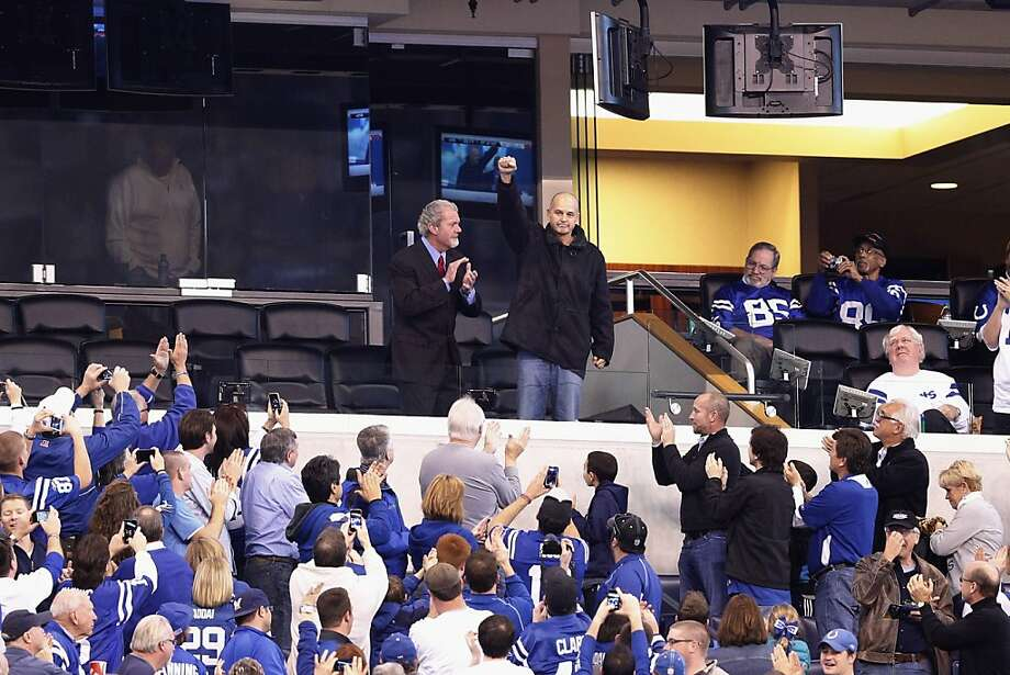 INDIANAPOLIS, IN - NOVEMBER 25:  Head coach Chuck Pagano of the Indianapolis Colts acknowledges the crowd along with owner Jim Irsay during the game against the Buffalo Bills at Lucas Oil Stadium on November 25, 2012 in Indianapolis, Indiana. The Colts won 20-13. (Photo by Joe Robbins/Getty Images) Photo: Joe Robbins, Getty Images